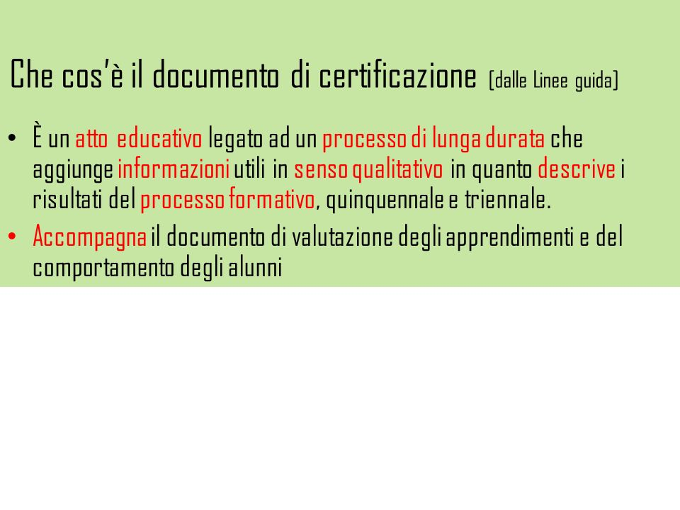 Che cos'è il documento di certificazione [dalle Linee guida]